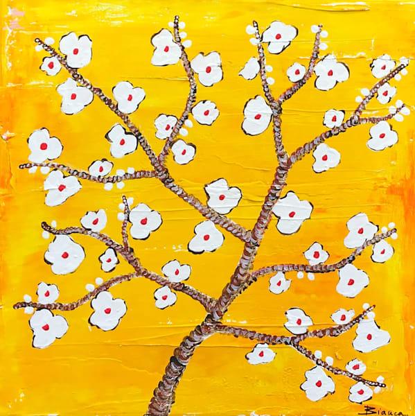 Almond Blossoms Yellow by Bianca De Navarro Cubric | SavvyArt Market Original Abstract Painting