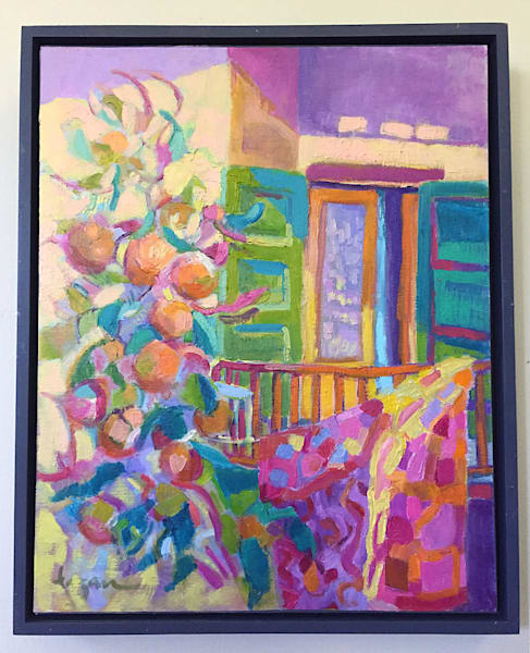 The Yellow Door, Colorful Abstract Original Oil Painting by Dorothy Fagan