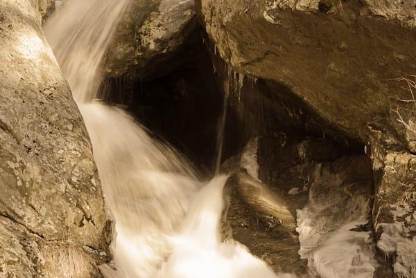 Bash Bish Falls closeup in sepia