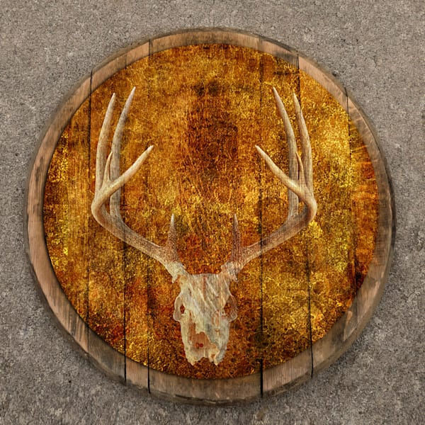 Deer Skull Bourbon Barrel Head | FortMort Fine Art
