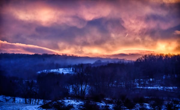 Red Sky After Winter Storm