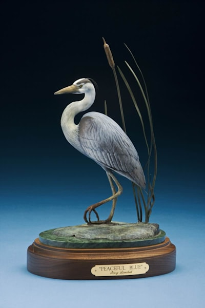 Great Blue Heron bronze sculpture with a color patina finish