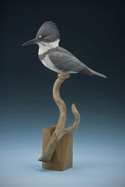 Male Kingfisher Wood Carving Sculpture