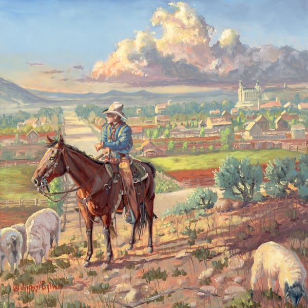 Cowboy herding sheep in historic Manti Utah prints
