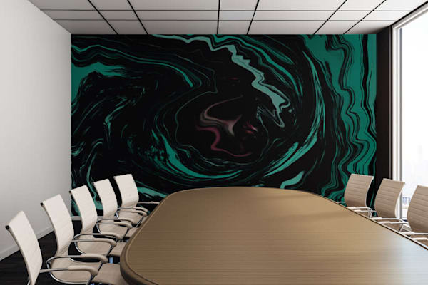 Pink, Teal, and Black Abstract Art, Digital Fluid Artwork - Decorative Wall Mural
