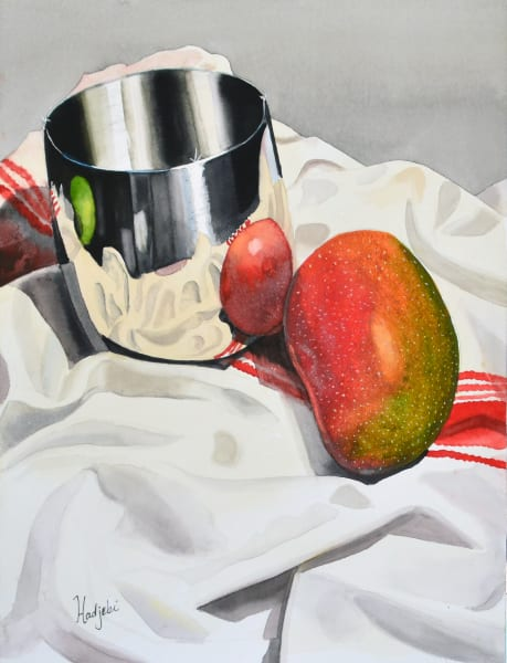 Mango and Silver Cup - Still life - watercolor - prints available
