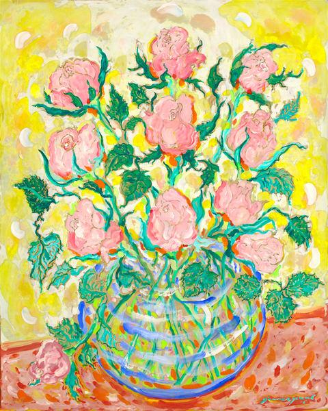 Roses In A Blue Vase Art   Artiste Winery & Tasting Studio