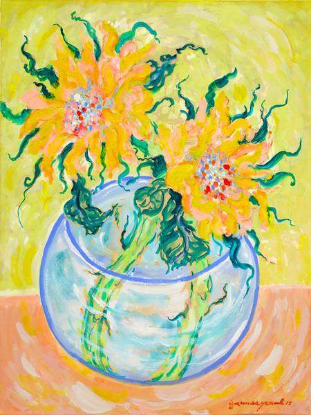 Sunflowers In A Blue Vase Art   Artiste Winery & Tasting Studio
