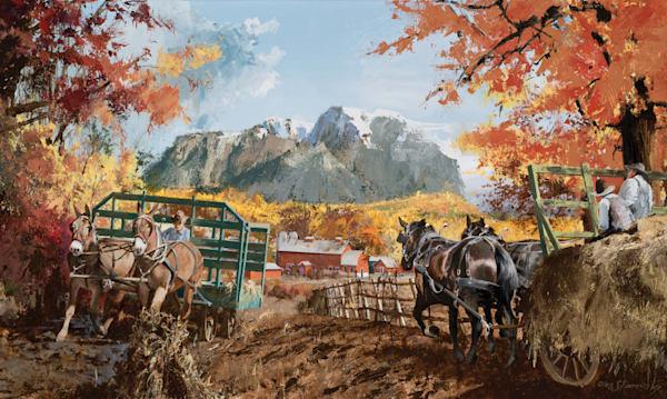Autumn Hay Wagons Art   Lesa Delisi, Fine Arts