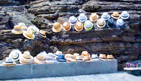 Art photography of Italy, Cliff-side Coastal DSC_5626 Chapeau Seller Cinque Terre, Italy, P B