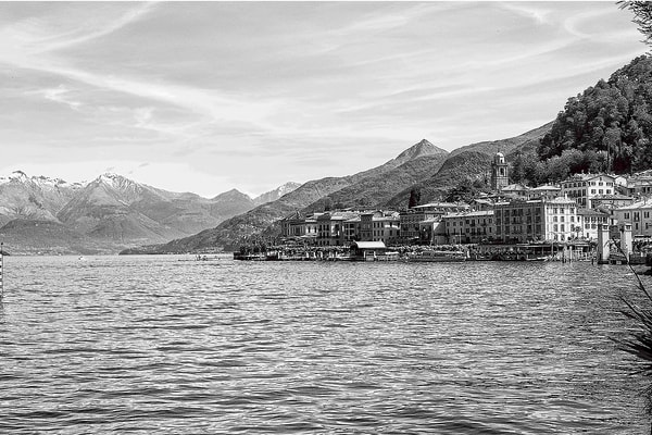 Art photography of Italy,  DSC_6358 Bellagio in lake Como, Italy BW
