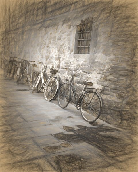 Art photography of Italy, from  IMG_5324 bicycles Against the Wall, Florence, Italy d sketch