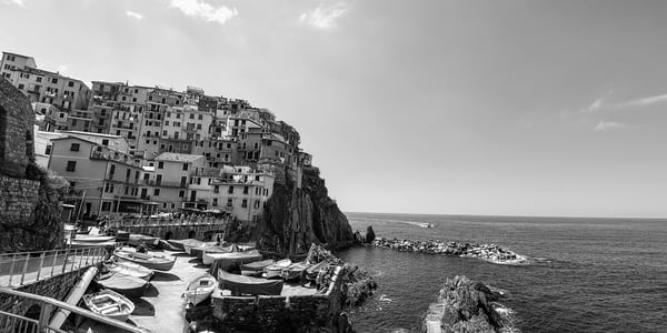Art Photography of Coastal Italy, Coastal Seaside BW Manarola, CinqueTerre, Italy photograph bw