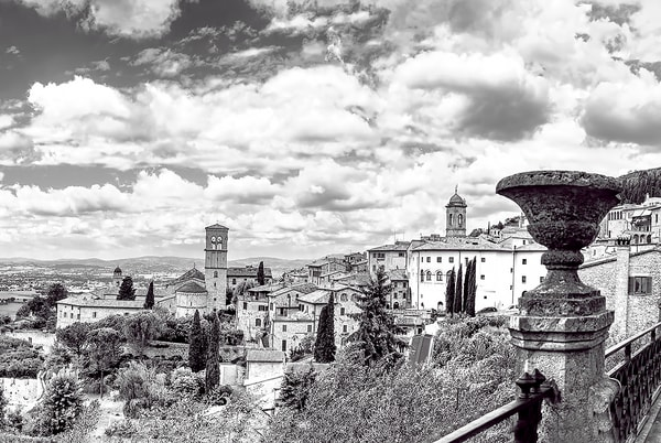 Art Photography of   Italian Countryside, Assisi Italy Landscape Panorama in bw