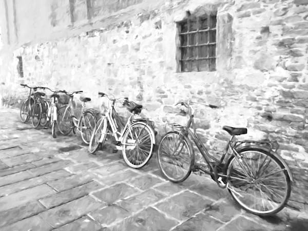 Art Photography of Italy  City-Centers, IMG_5328 Bicycles Against the Wall, Florence, Italy MO bw