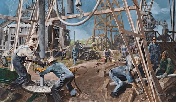 Old Time Oil Field Scene Art | Lesa Delisi, Fine Arts