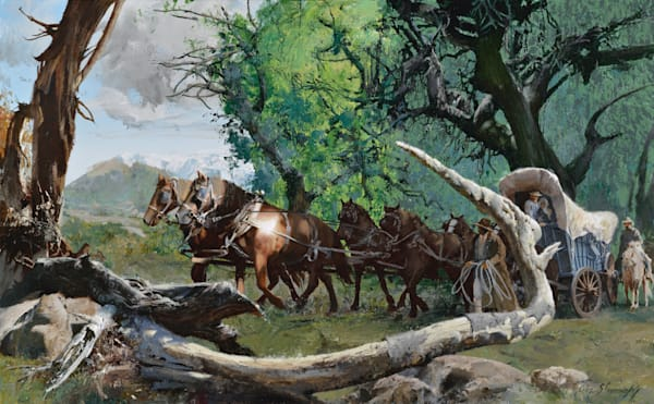 Wagon Through Deadfall Art | Lesa Delisi, Fine Arts