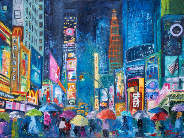 lovers walking in times square  under umbrellas