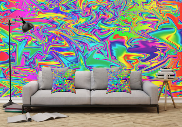 Color Chaos Multi-Colored Wall Mural Abstract Art, Digital Fluid Artwork - Decorative Wall Mural