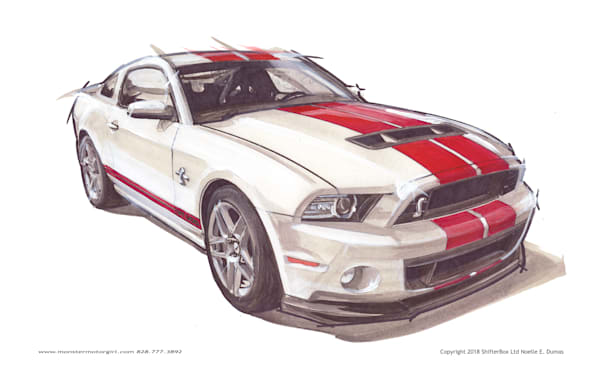 Shelby Mustang White with Red stripes