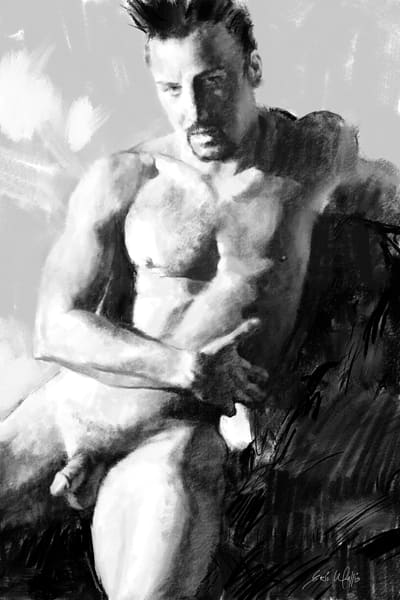 "Digital drawing by Eric Wallis titled, ""Seated Male Nude."""