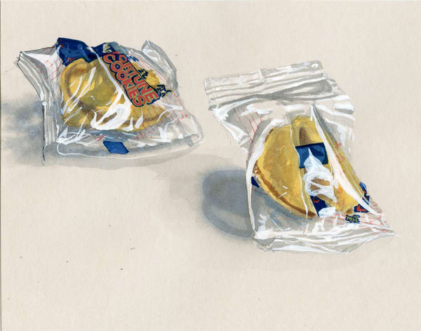 Fortune Cookies Watercolor Painting