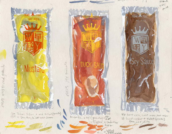 Sauce Packets Watercolor Painting