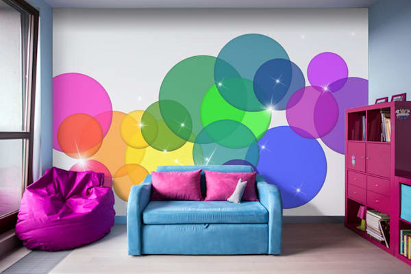 Translucent Rainbow Colored Circles Removable Wall Murals Illustration Abstract Art, Digital Artwork - Decorative Wall Mural