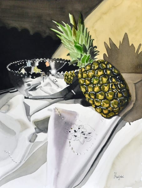 pineapple and silver bowl still life