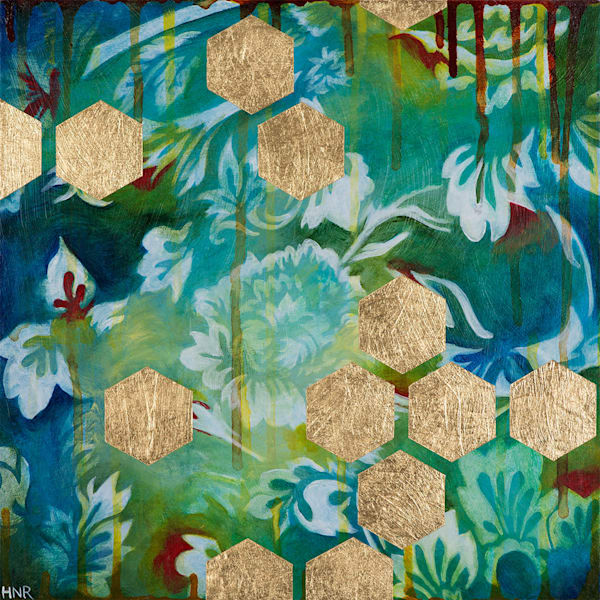 Hexagons (Sea), a fine art original painting by Heather Robinson