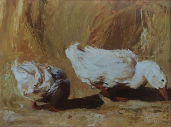 Two Ducks On Yellow Art | Lesa Delisi, Fine Arts