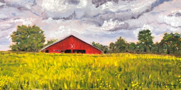 Red Barn on the Farm | Fine Art Painting Print by Rick Osborn