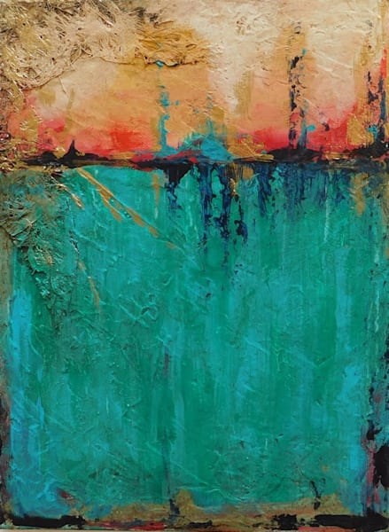 abstract painting in teal, red, and gold