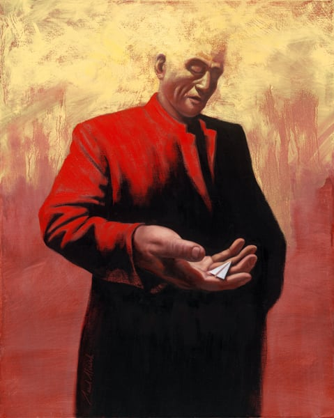 Man in Red Coat - Paper Airplane series painting on canvas by Paul Micich - for sale at Paul Micich Art