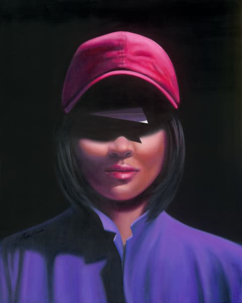 Pink Hat - Paper Airplane series painting on canvas by Paul Micich - for sale at Paul Micich Art - Never underestimate the woman in the pink hat