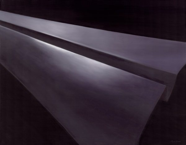 Military Industrial Complex - Large dark sleek Paper Airplane series painting on canvas by Paul Micich - for sale at Paul Micich Art