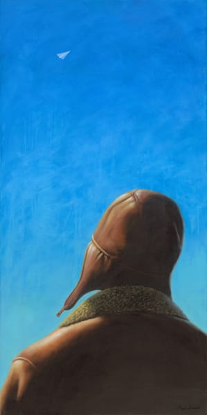 Aviator - Paper Airplane series painting on canvas of figure in aviator cap and bomber jacket by Paul Micich - for sale at Paul Micich Art