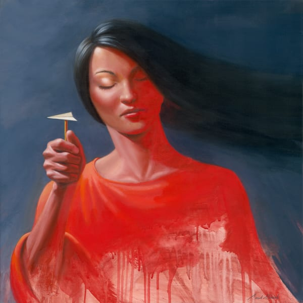 Woman in Red Dress - Paper Airplane series painting on canvas by Paul Micich - for sale at Paul Micich Art