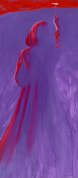 Red Cloak - Paper Airplane series painting on canvas by Paul Micich - romantic painting of woman in cloak - for sale at Paul Micich Art