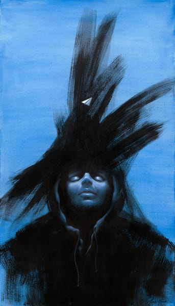 New Moon - Paper Airplane series painting of mysterious figure in hoodie on canvas by Paul Micich - for sale at Paul Micich Art