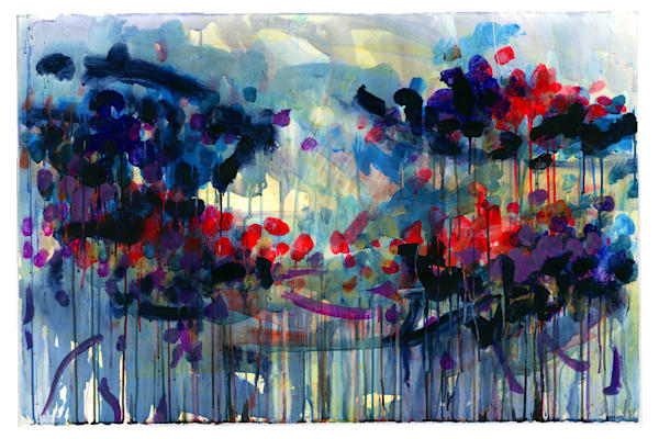 Migration Series  - Original art by Caroline Wright. Abstract landscape,  wildflowers, seasons, light reflecting on water.