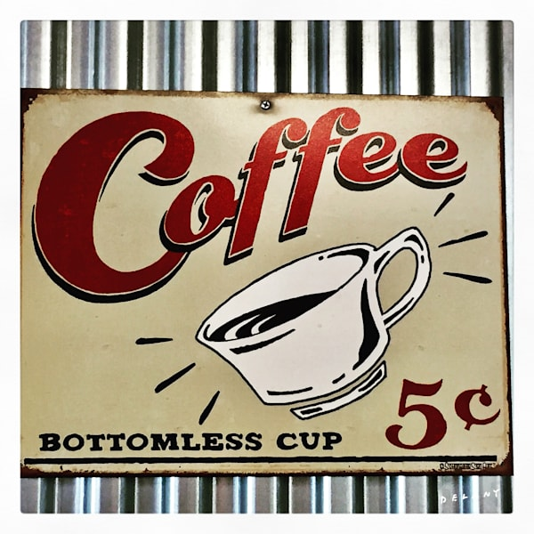 Coffee, coffee five cents, these old ads, retro-ads, capture my attention, I must take a photo. Click.