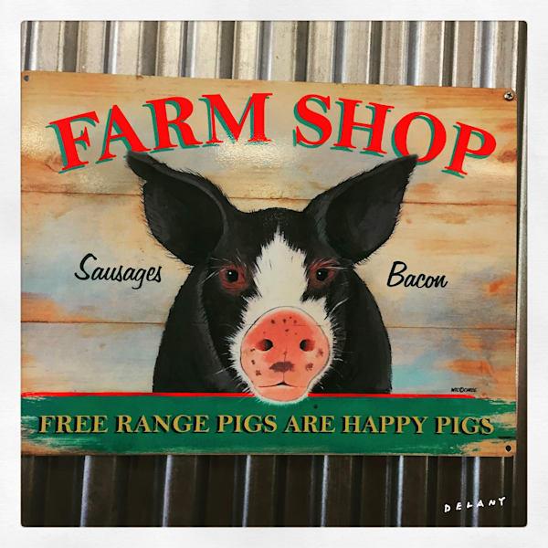 Farm Shop Retro Pig Art Print by George Delany