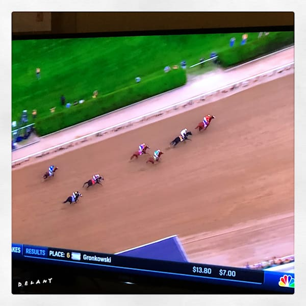 Gronk the Horse at Belmont Instagram, great Belmont race featuring Gronk captures my attention, here breaking from gate, photo by George Delany, click!