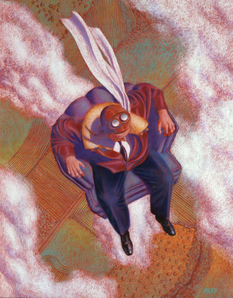 Walter M - surreal storytelling art painting of aviator flying above the landscape in an arm chair - After Walter Mitty - For Sale at Paul Micich Art