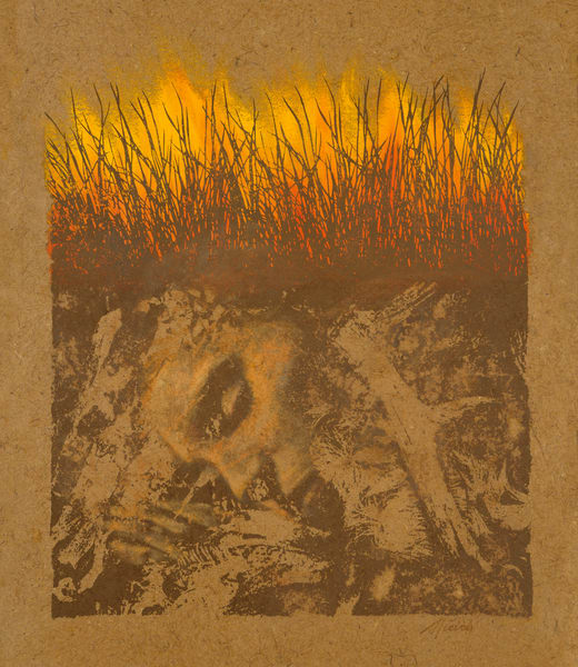 The Talking Earth, book by Jean Craighead George, evocative painting of young woman clutching the earth beneath a burning grassland by Paul Micich