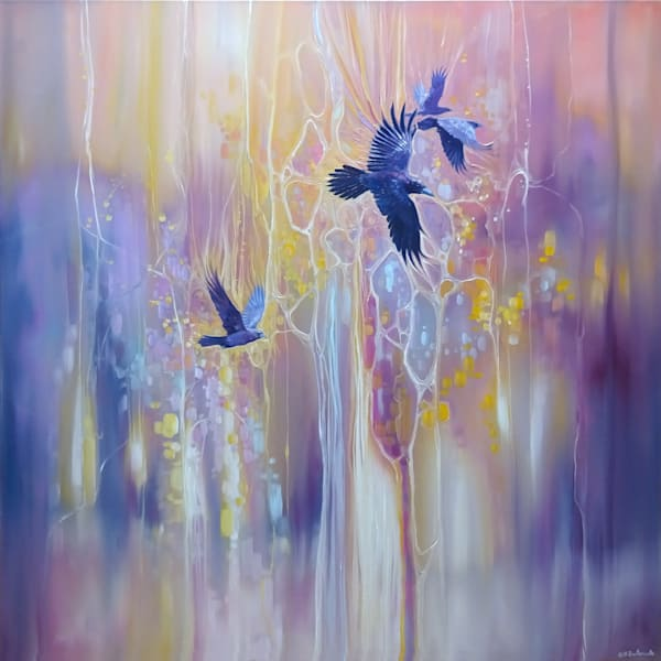 Messengers of the Gods - crow abstract painting by Gill Bustamante