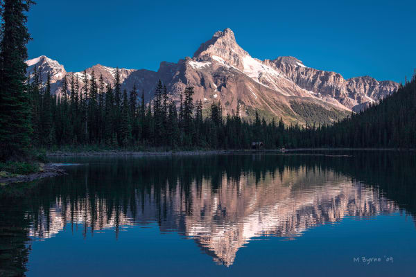 Early morning light at Lake O'Hara and Cathedral Mountain.