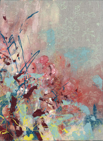 Abstract Art - Pink and Blue Expressionistic Art on Raw Linen for Sale