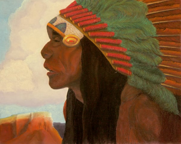 Indian Chief and Mesa-portrait-pastel-print-s